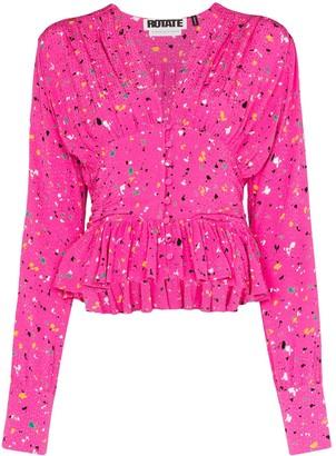 Rotate by Birger Christensen Tracy paint splash-print blouse