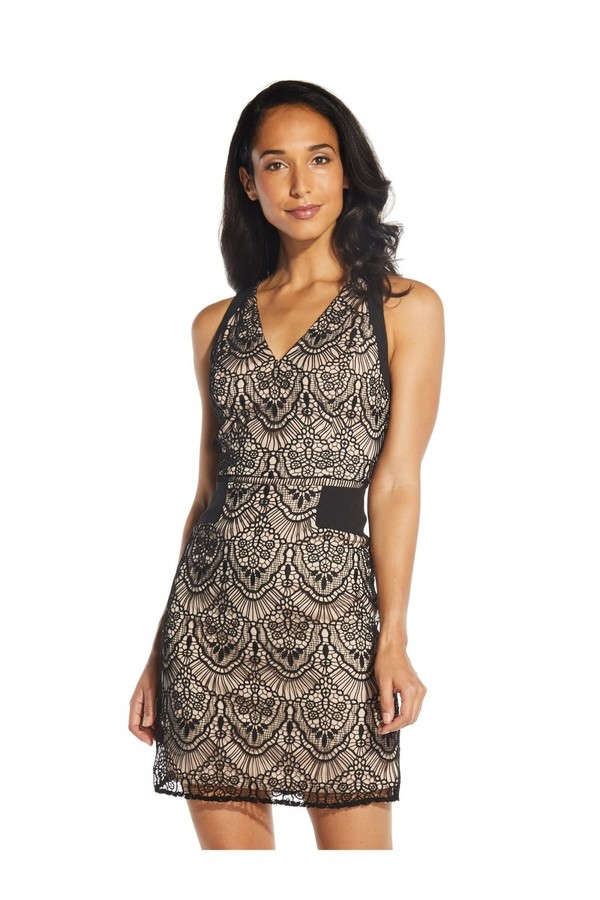 Adrianna Papell Scalloped Lace A-Line Dress