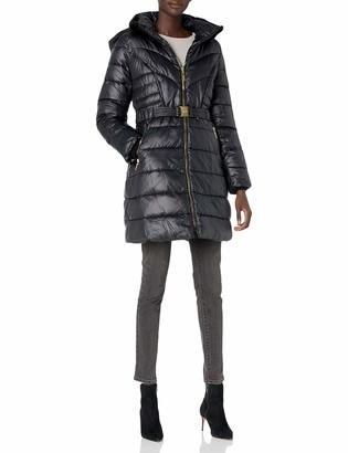 """Kensie Women's 35"""" Cozy Lined Quilted Non-Down Puffer"""