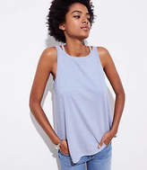 LOFT Petite Striped Cutout Shoulder Tank