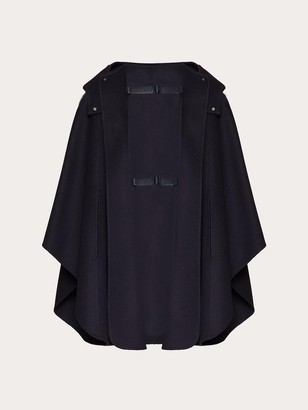 Valentino Leather Double Strap Hooded Cashmere Cape