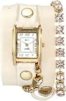 La Mer Women's LMMULTI5001 Crystal Chain Chandelier Watch With Leather Strap