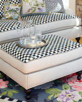 Mackenzie Childs Courtly Check Underpinnings/Flax Ottoman