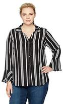NY Collection Women's Plus Size Ruffle Sleeve