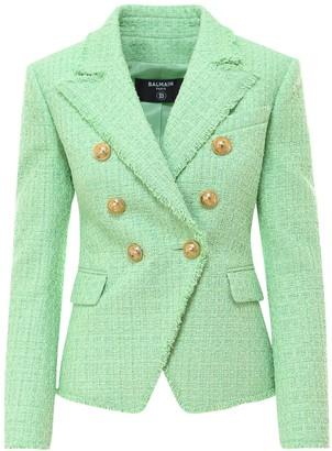 Balmain Boucle Double Breasted Tweed Blazer