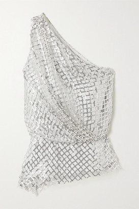 Mason by Michelle Mason One-shoulder Sequined Mesh And Silk Top - Silver
