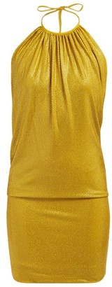 Alexandre Vauthier Halter Neck Crystal Embellished Mini Dress - Womens - Gold