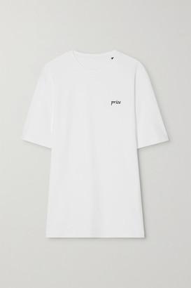 Amina Muaddi International Women's Day Embroidered Cotton-jersey T-shirt - White