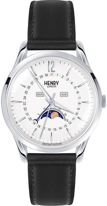 Henry London Unisex-Adult Moon Phase Quartz Watch with Leather Strap HL39-LS-0083