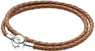 Pandora Brown & Silver Braided Double Leather Charm Bracelet