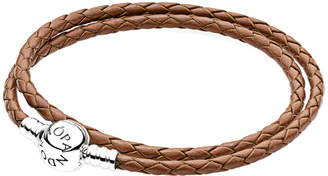 Pandora Charm Carrier Brown & Silver Braided Double Leather Charm Bracelet