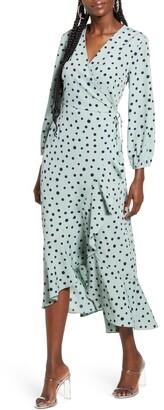 Vero Moda Henna Polka Dot Long Sleeve Wrap Dress
