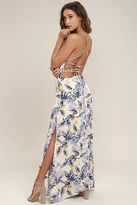 LuLu*s Rather Ravishing Cream Floral Print Lace-Up Maxi Dress