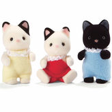 International Playthings Calico Critters of Cloverleaf Corners Tuxedo Cat Triplets