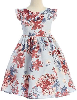 Ellie Kids Girls' Casual Dresses Denim - Light Blue & Mauve Floral Angel-Sleeve Dress - Toddler & Girls