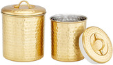 One Kings Lane Set of 2 Anston Hammered Canisters - Gold