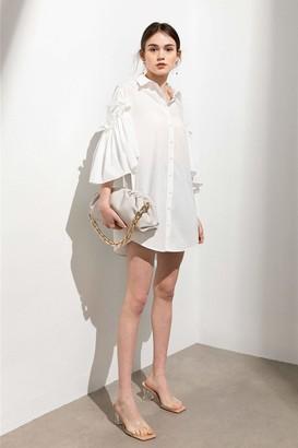 J.ING Odette White Cape Sleeve Shirt Dress