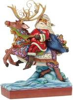 Jim Shore Next Stop The Rooftop Santa Riding Reindeer Christmas Figurine