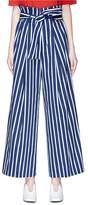 Muveil Belted stripe paperbag wide leg pants