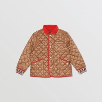 Burberry Childrens Icon Stripe Trim Lightweight Diamond Quilted Jacket