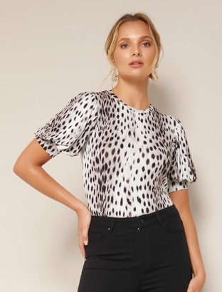 Forever New Nicolette Puff Sleeve Tee - Leopard - l
