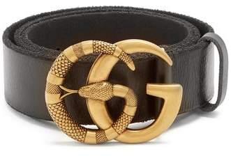 Gucci Gg Snake Buckle Leather Belt - Mens - Black