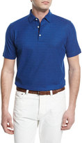 Isaia Gran Short-Sleeve Pique Polo Shirt, Blue