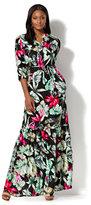 New York & Co. Maxi Shirtdress - Tropical Print