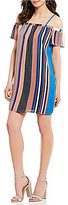As U Wish Off-The-Shoulder Striped Shift Dress