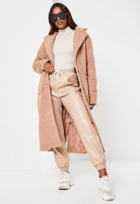 Missguided Tall Brown Borg Teddy Patch Pocket Coat