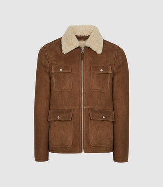 Reiss Church - Four Pocket Shearling Jacket in Brown