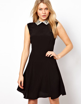 Asos Sleeveless Dress with Contrast Crochet Collar