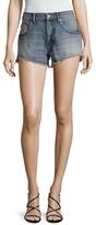 Saint Laurent Faded Embellished Denim Shorts