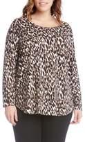 Karen Kane Plus Size Women's Print Knit Shirttail Top