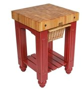 John Boos American Heritage Prep Table with Butcher Block Top Base Finish: Barn Red