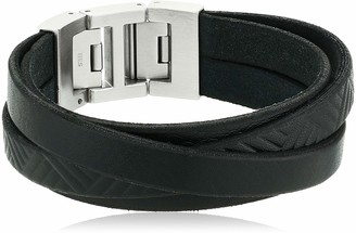 Fossil Men's Textured Black Leather Wrist Wrap Silver One Size