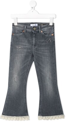 Dondup Kids Flared Lace-Trimmed Jeans