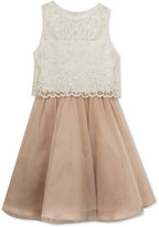 Rare Editions Lace-Bodice Popover Party Dress, Big Girls (7-16)