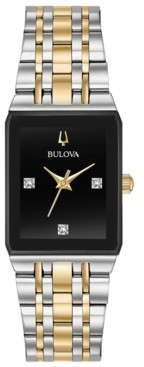 Bulova Women's Futuro Diamond-Accent Two-Tone Stainless Steel Bracelet Watch 20.5x32mm, Created for Macy's