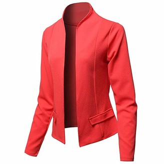 Hulky Coats & Jackets HULKY Womens Casual Blazer Ruched 3/4 Sleeve Open Front Relax Fit Office Lightweight Cardigan Jacket Blazers(Blue L)