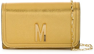 Moschino M logo purse with chain detachable strap