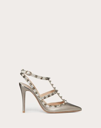 Valentino Garavani Rockstud Metallic Ankle Strap Pump 100 Mm Women Champagne Calfskin 100% 34