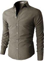 H2H Mens Oxford Cotton Slim Fit Casual Button-down Shirts Long Sleeve BLACK US M/Asia L (KMTSTL0219)