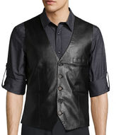 Asstd National Brand WD.NY BLACK Solid Faux Leather Vest