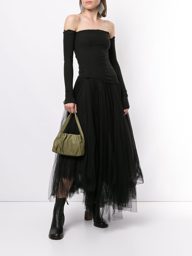 Thumbnail for your product : Marc Le Bihan Off-The-Shoulder Tulle-Panelled Dress