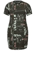 City Chic Longline Graffiti Dress