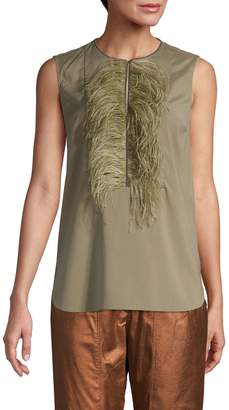 Brunello Cucinelli Feather-Trimmed Sleeveless Top