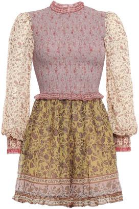 Zimmermann Juniper Shirred Floral-print Cotton And Silk-blend Playsuit