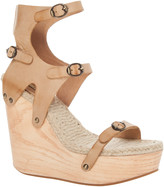 Max Studio Finial - Hand Burnished Leather Wooden Wedge Sandals