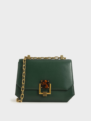 Charles & Keith Chain Handle Geometric Crossbody Bag